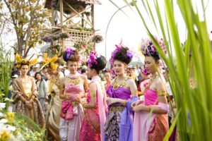Thai Costume in Flower Festival at Nawarat Bridge, Chiang Mai