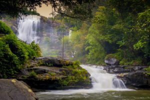 Wachirathan Waterfall is located in Doi Inthanon National Park, Chiang Mai
