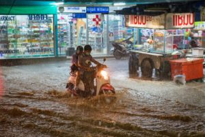 Thailand in the Rain. Motorbike in the Rain