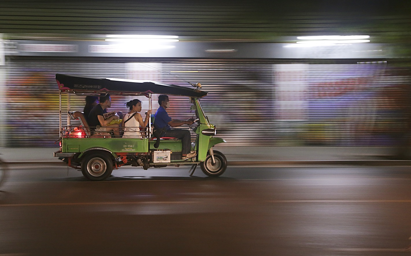 Thailand in the Rain. Tuk-Tuk racing