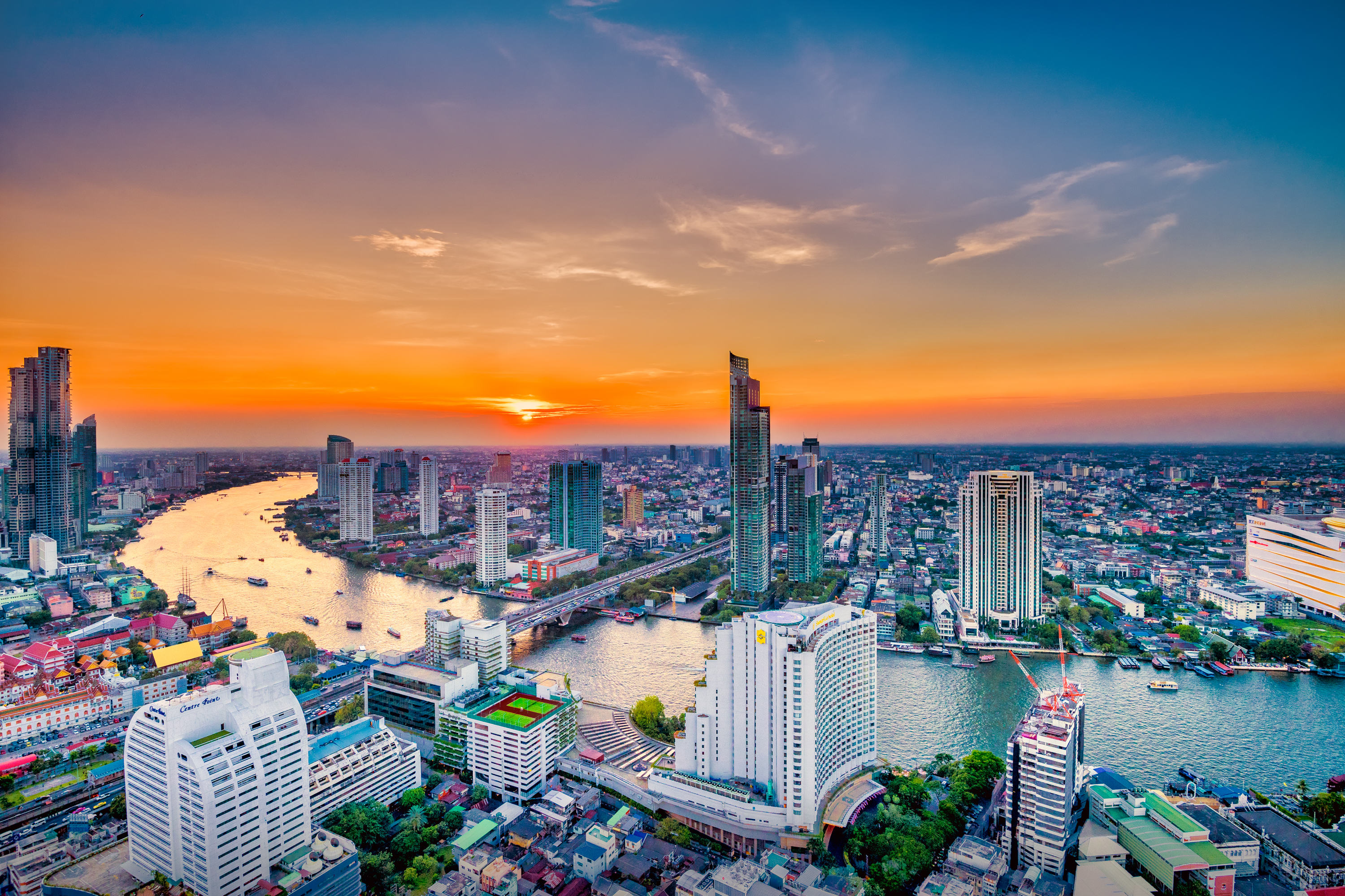 Bangkok Aerial Photograph and Chao Phraya River, Bangkok