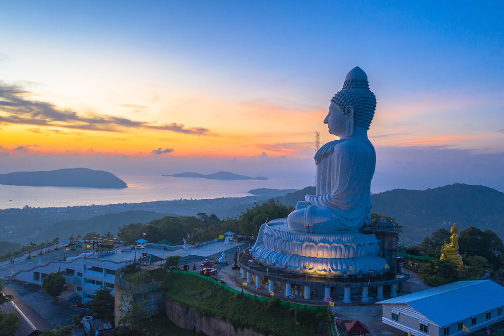 scenery aerial photography sunrise at Phuket big Buddha. Phuket Big Buddha is one of the island most